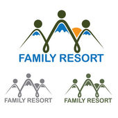 Family resort emblem with mountains and sun — Stock vektor