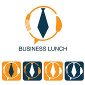 Business lunch and web icons set — Vetor de Stock