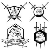 Eagle with crown and swords crests collection — Stock Vector