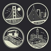 Landmarks of San Francisco vintage labels set — Stock Vector