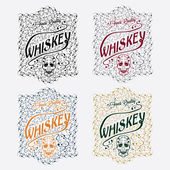 Whiskey labels with skull and flower ornament — Stock Vector