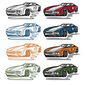 Set of vintage sport car — Stock Vector