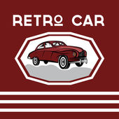 Retro car old vintage poster — Stock Vector