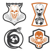 Football team crests set with snake and skulls — Stock Vector