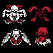 Biker theme labels with pistons,flowers,wings,snakes and skulls — Stock Vector
