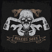 Grunge biker theme label with pistons,flowers,snakes and skulls — Stock Vector