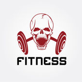 Aggressive skull and barbell fitness emblem — Stock Vector