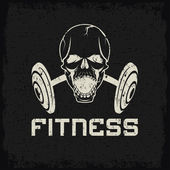 Grunge aggressive skull and barbell fitness emblem — Stock Vector