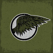 Grunge vintage sport label with wings — Stockvector