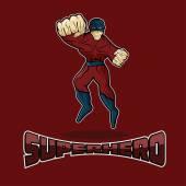 Superhero in Action vector design template — Stock Vector