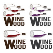 Wine wood concept vector design template — Stock Vector