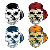 Pirates skull set — Stock Vector