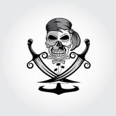 Pirate skull with swords,anchor and palms — Vecteur