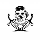 Pirate skull with swords and bones — 图库矢量图片