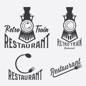 Vintage set of retro train restaurant — Stock Vector