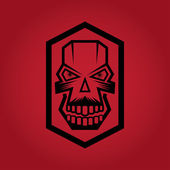 Digital skulls on red background — Stock Vector