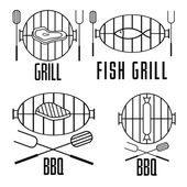 Bbq set and vector design elements — Stock Vector