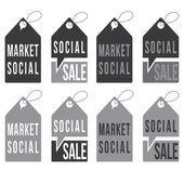 Set of social sale tags vector design template — Stock Vector