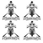 Biker theme labels with motorbike and skull  — Stock vektor
