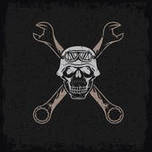 Biker theme grunge label with skull and wrenches — Stock Vector
