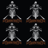 Biker theme labels with motorbike and skull  — Stock Vector
