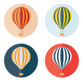 Air balloons flat design icons set — Stock Vector