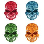 Set of skulls polygon art — Stock Vector
