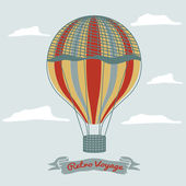 Vintage hot air balloon in the sky with clouds — Stockvektor