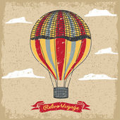 Grunge vintage hot air balloon in the sky with clouds — Vecteur