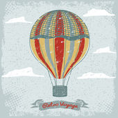 Grunge vintage hot air balloon in the sky with clouds — Stockvektor