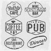 Set of vintage cafe ,pub,wine bar and restaurant emblems — Stock Vector