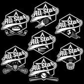 Conjunto de deporte vintage crestas estrellas todos — Vector de stock