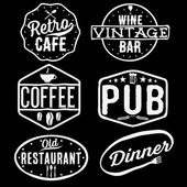 Set of vintage cafe ,pub,wine bar and restaurant emblems — Stock Vector