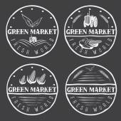 Set of vintage labels of green market with tractor and vegetable — Vetor de Stock