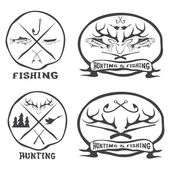 Hunting and fishing vintage emblems set — Stock Vector