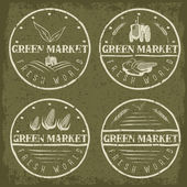 Set of vintage labels of green market with tractor and vegetable — Vector de stock
