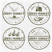 Set of vintage labels of green market with tractor and vegetable — Stockvector