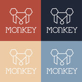Monkey monogram — Stock Vector