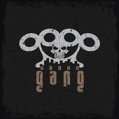Urban gang grunge emblem with brass knuckles and skull — Stok Vektör