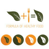 Formula of healthy food with leaf and fork — Stock Vector