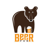 Bear beer concept vector design template — Stock Vector