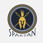 Spartan helmet with spears and shield — Stock Vector