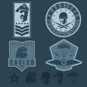 Special unit military emblem set vector design template — Vetor de Stock
