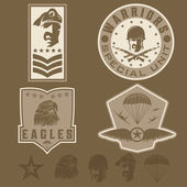 Special unit military emblem set vector design template — Stockvektor