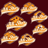 Set of vintage sports all star crests — Stock Vector