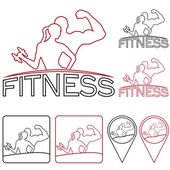 Man and woman of fitness outline silhouette character,icons and  — Stock Vector
