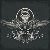 Biker theme label with pistons and skulls with wings — Stock Vector