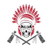 Native American chief skull in tribal headdress with tomahawks — Vector de stock