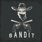 Grunge Bandit Skull With Revolvers — Stock Vector