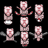 Set of bear sports labels — Stock Vector